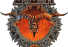 Bloodstock Crest Logo image. A human or demon skull with large horns like a bison in a metal circle with large points coming from it.