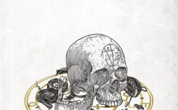 GosT Skull cover artwork image. A pencil drawing of a skull in what appears to be a ritualistic circle with symbols in it and the letters of the band's name. The skull has a a similar design etched into the forehead. The jawbone is broken off and sits next to the skull. Around the skull are pieces of bone, bundles of twine and what appears to be a tattoo machine.