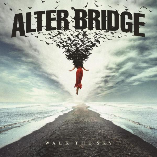 Alter Bridge Walk the Sky Album Cover, cloudy skys, birds in flight, track with ocean either side, women in red dress in flight.