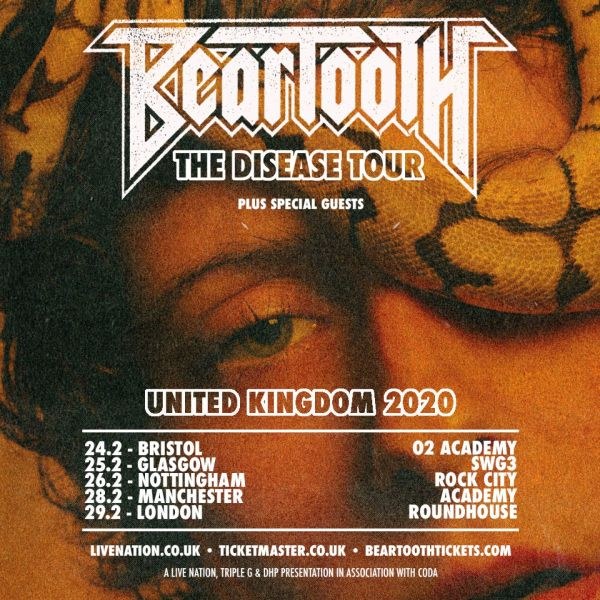 Beartooth UK Tour Poster, low light, man with snake on head.