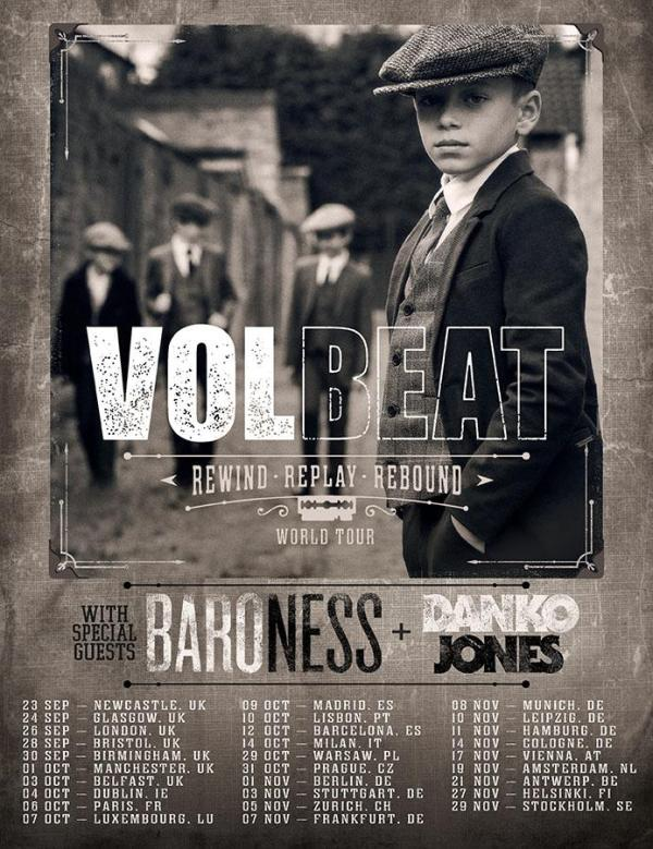 Volbeat Tour Poster, black and white, children dressed in 1930's style clothing, cobbled streets.