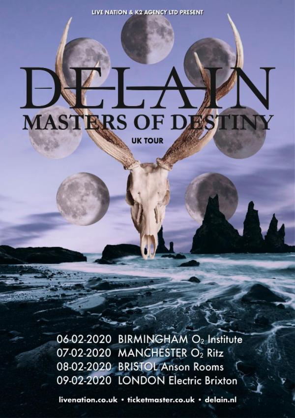 Delain Tour Poster, dates and venues.