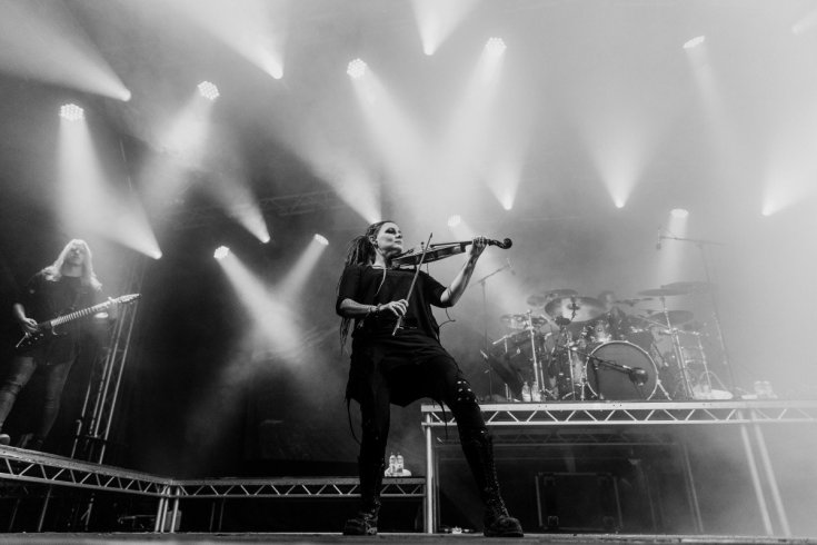 Black and white photo of Eluveitie at Bloodstock 2019