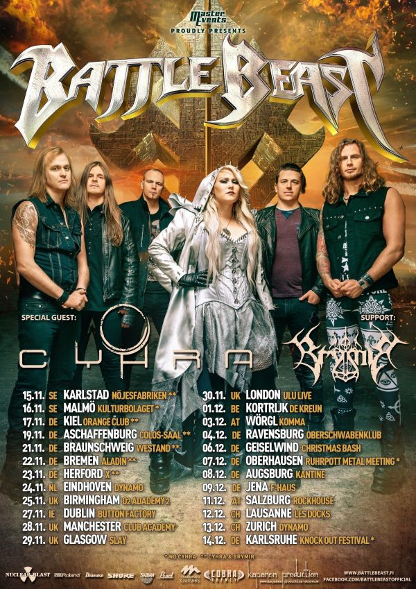 Battle Beast Tour Poster 2019, Band Members, Tour Dates, Gold Backdrop, Metal, Rock