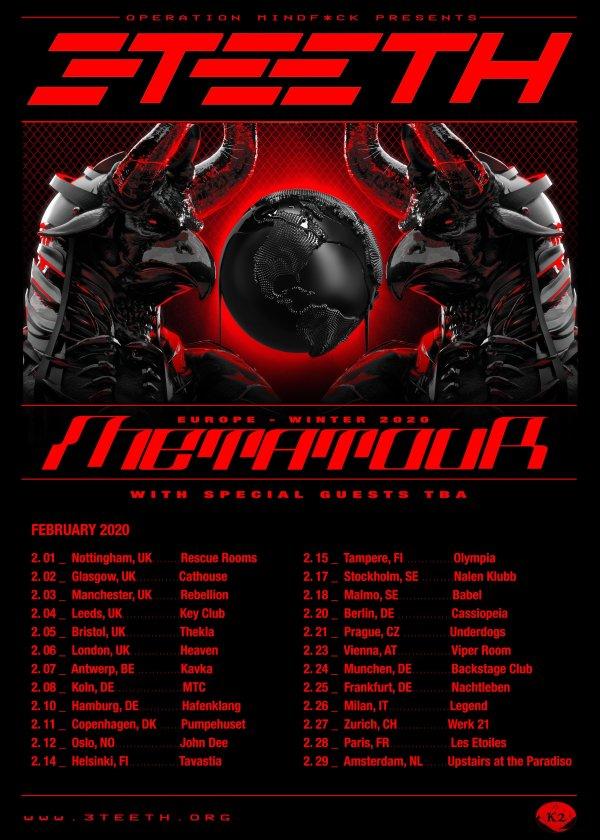 3TEETH Tour Poster, Black, Red, Hands, Planet, Rock, Metal