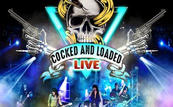 """L.A. Guns Cocked And Loaded Live Album Cover - A photo of the band playing live with the L.A.Guns logo in large red letters above a skull with a snake coiled around it. Below the skull is a banner that reads """"Cocked and Loaded Live"""""""