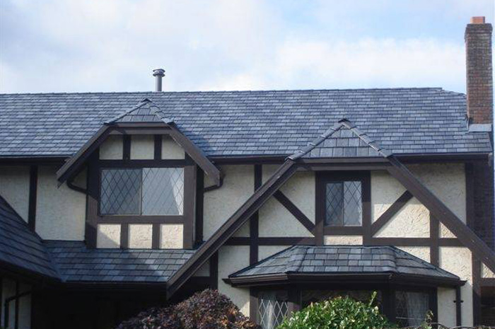 Tudor houses are traditionally roofed in slate - bring that classic style into the 21st Century with a slate-look steel roof from Metal Roof Outlet, Ontario.