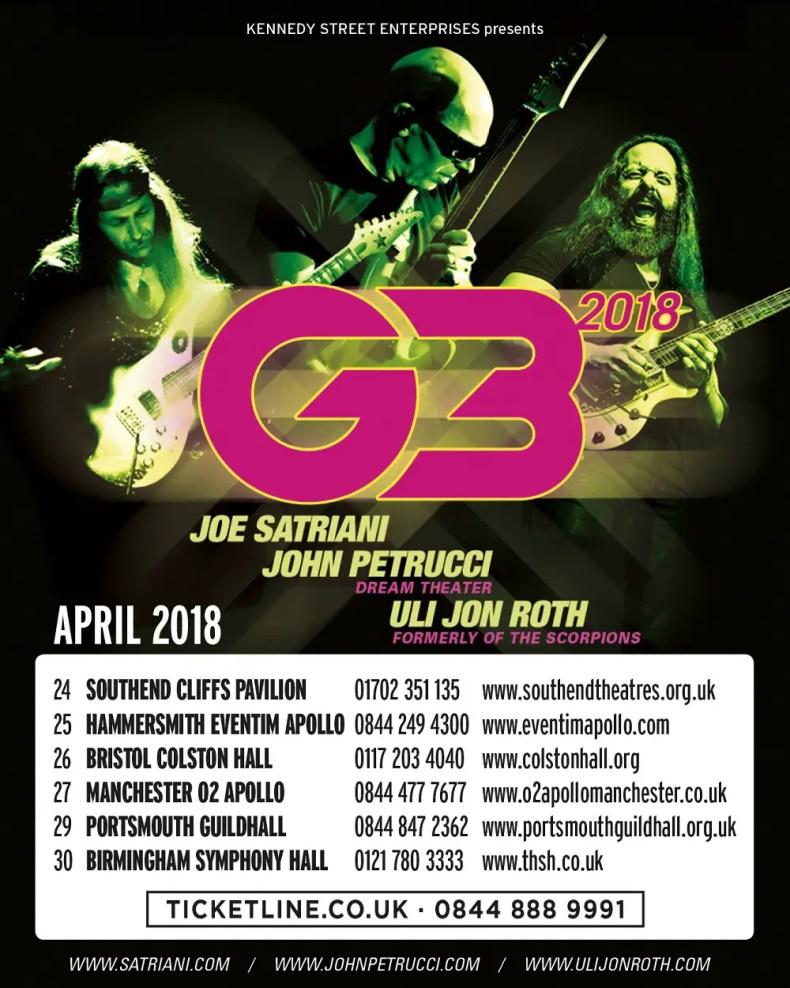 G3 - GIG REVIEW: An Evening With G3 - Joe Satriani, John Petrucci & Uli John Roth Live at Hammersmith Eventim Apollo, London