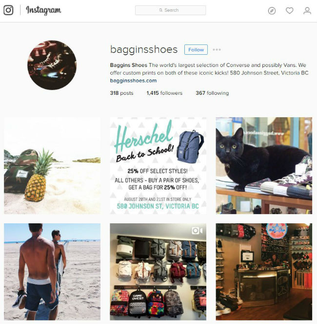 Baggins Shoes Instagram Profile