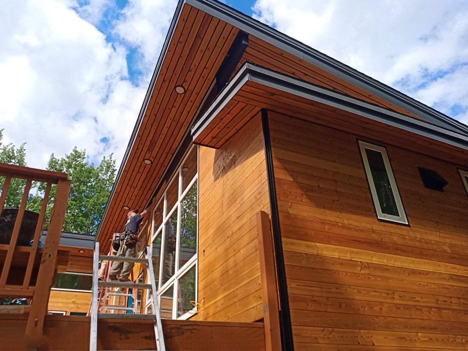 Cedar soffit and siding with metal trim