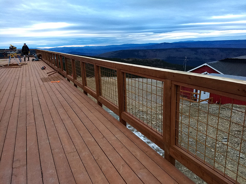 """Railing with treated wood and 4"""" reinforcing mesh"""