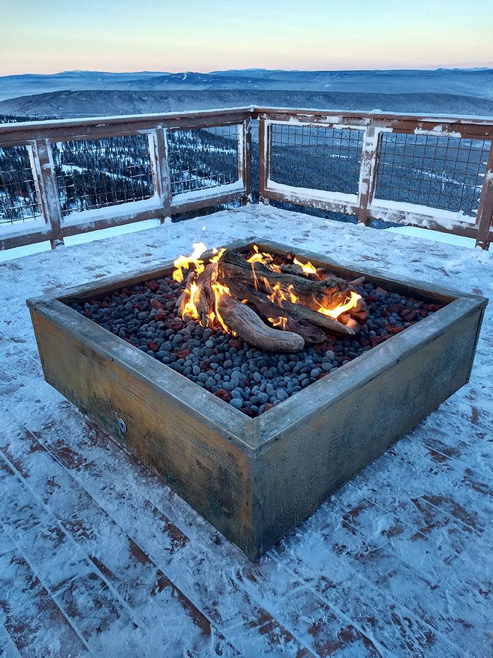 Corten steel gas firepit