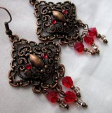 bronze and red swarovski earrings-1