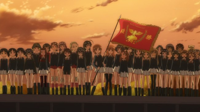 Girls und Panzer 12 Oarai with Victory Flag
