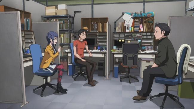 Shirobako-Discussing their work