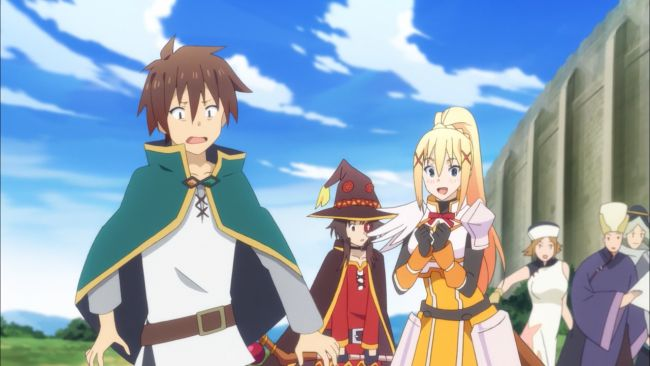 KonoSuba - different reactions to the oncoming horde