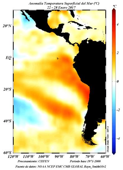 Anomalía de temperatura superficial del mar. (Fuente: CIIFEN)