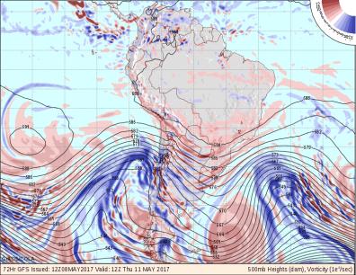 Pronóstico de altura geopotencial en 500 hPa