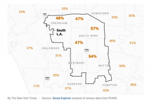 In South L.A., the share of black households experiencing severe rent burdens is about 50 percent. map