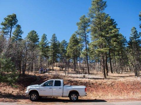 The family walks along public land near Marisela's home in Flagstaff.