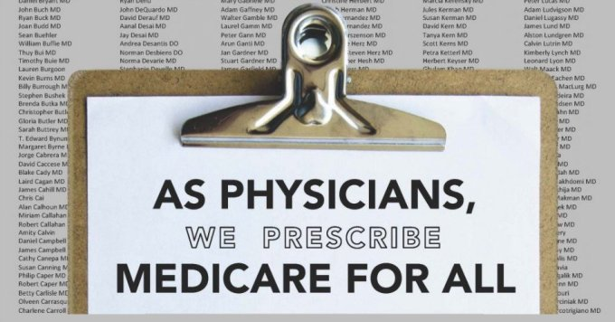 More than 2,000 physicians announced an open letter to the American public, prescribing single-payer Medicare for All, in a full-page ad in the New York Times that will run in the print edition on Tuesday, January 21, 2020. On Monday, in a separate but related move, the American College of Physicians (ACP), a national organization representing 159,000 internists, officially endorsed single-payer Medicare for All reform. The ACP is the largest medical specialty society and second-largest physician group in the country after the American Medical Association (AMA).