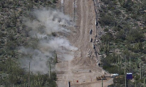 Blasting on Monument Hill at Organ Pipe National Monument on Wednesday. Photo Josh Galemore.