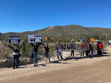 On Wednesday, the message was clear 'No Border Wall' at Monument Hill Photo Laiken Jordahl