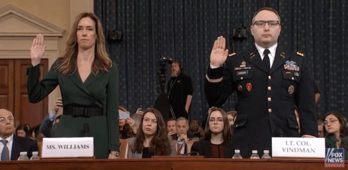 Army Lt. Col. Alexander Vindman swearing in Nov 19. 2019. President Trump fired Lt. Col. Vindman for testifying at his impeachment trial.
