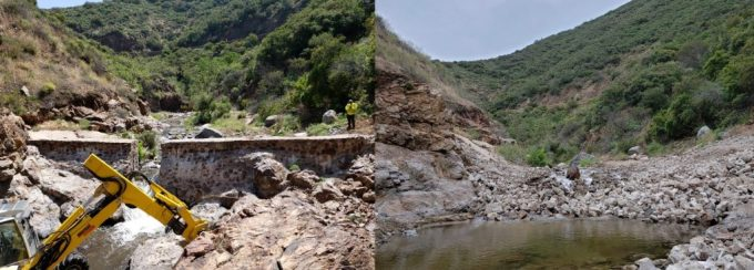 Before and after dam removal on San Juan Creek in the Cleveland National Forest. Photos by Julie Donnell, USFS