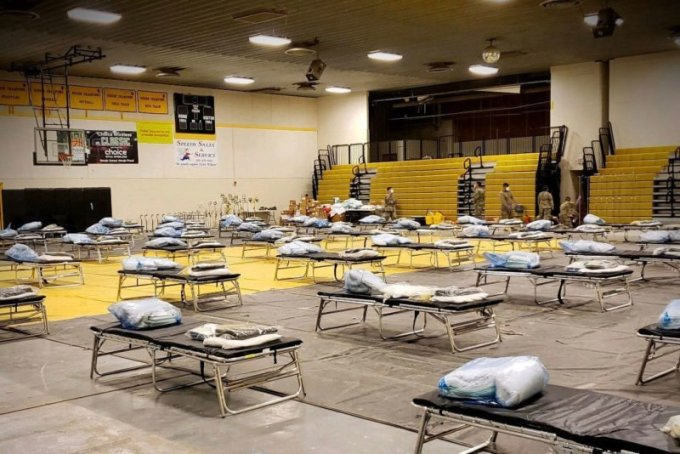 The Arizona National Guard has set up several medical centers to respond to the coronavirus outbreak in the Navajo Nation, including this repurposed school gymnasium in Chinle. (Courtesy of Office of the Navajo Nation President and Vice President)