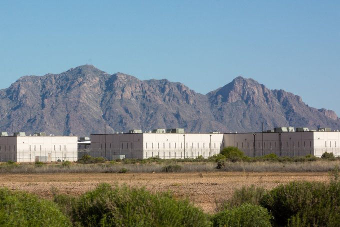 The La Palma Correctional Center in Eloy, Arizona is shown here on April 10, 2020. The facility houses U.S. Immigration and Customs Enforcement detainees and is managed by CoreCivic. (Photo by Nicole Neri | AZCIR)