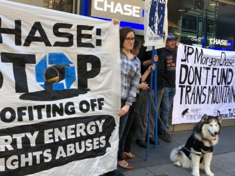 JPMorgan Chase is the world's largest funder of fossil fuels. Without that money, the fossil fuel companies simply can't afford to build their new mines, pipelines or fracking wells. (Photo: Antonia Juhasz/Twitter)