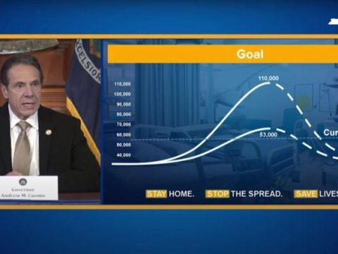 Gov. Andrew Cuomo, at a March 22 briefing, displayed a projection that New York could need 110,000 hospital beds. At the peak, fewer than 19,000 were hospitalized with COVID-19. (Screenshot via YouTube)