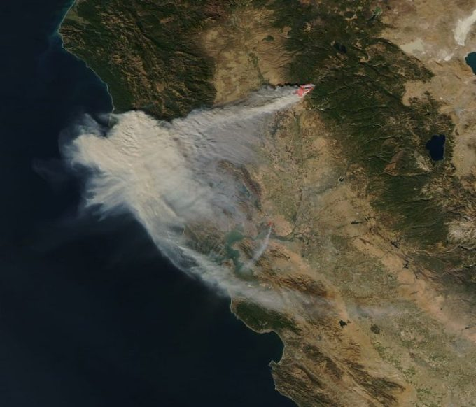A satellite image of the smoke from the wind-driven Camp Fire in 2018. Photo: MODIS Land Rapid Response Team, NASA GSFC