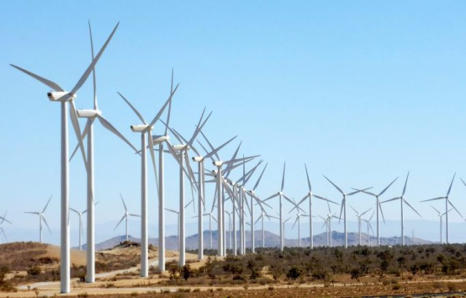 Alta Wind Energy Center in Kern County, California. Though electric utilities have increased their reliance on renewable sources like wind and solar, projections show that climate-warming natural gas will remain a dominant fuel well into the future. (Wikimedia Commons)