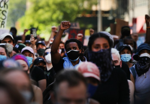 Demonstrators protest the killing of George Floyd by a Minneapolis Police officer on June 3, 2020 in New York City. (Photo: Spencer Platt)