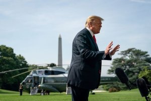 """In remarks to reporters before boarding Marine One on Tuesday, President Donald Trump said, """"Our tests are the best in the world, and we have the most of them."""" (Drew Angerer)"""