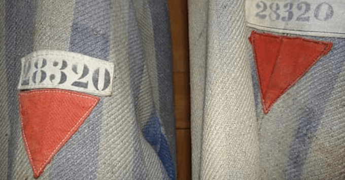 The Trump campaign used symbols similar to these found on concentration camp uniforms in an ad about the president's political opponents. (Image: Bend the Arc: Jewish Action)