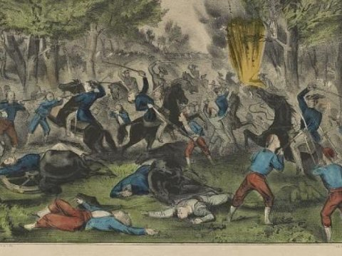 The Battle of Bull Run, Battle of Bull Run, Va. July 21st 1861, Currier and Ives. (Drawing: Library of Congress)