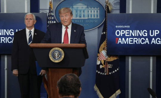 President Donald Trump speaks during the daily briefing of the White House Coronavirus Task Force in the briefing room at the White House on April 16, 2020 in Washington, D.C. (Photo: Alex Wong/Getty Images)