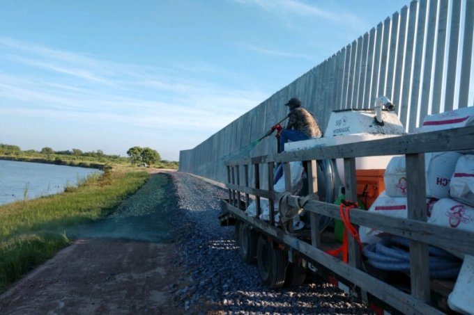 Fisher Industries has installed a 10-foot-wide road made with rocks to help address erosion issues while allowing access by Border Patrol agents. (Courtesy of Fisher Industries)