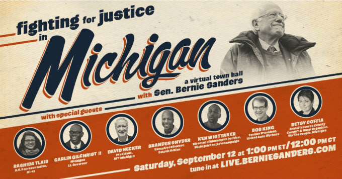 Joining Sen. Bernie Sanders (I-Vt.) at the virtual town hall will be progressive Rep. Rashida Tlaib (D-Mich.), American Federation of Teachers Michigan president David Hecker, Michigan Lt. Gov. Garlin Gilchrist II, former United Auto Workers president Bob King, and other local leaders. (Image: Sen. Bernie Sanders/Twitter)