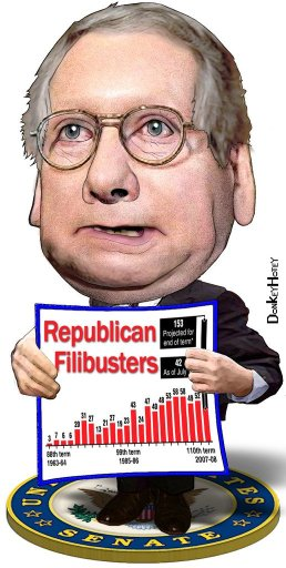 """Mitch McConnell, Filibuster King"" by DonkeyHotey is licensed under CC BY-SA 2.0"