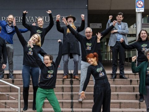 Climate activists on Wednesday celebrated a Dutch court's ruling that Royal Dutch Shell must cut its carbon emissions 45% by 2030. (Photo: Friends of the Earth Europe/Twitter)