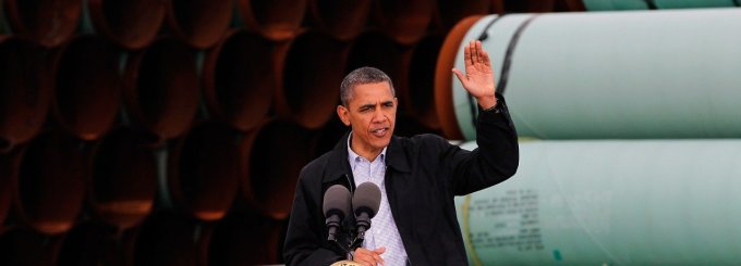 Former U.S. President Barack Obama speaking at the southern site of the Keystone XL pipeline on March 22, 2012 in Cushing, Oklahoma. At the time, despite loud warnings from progressives about the project's destructive impacts and his earlier vows to lead on the climate crisis, Obama was pressing federal agencies to expedite the section of the Keystone XL pipeline between Oklahoma and the Gulf Coast. (Photo: Tom Pennington/Getty Images)