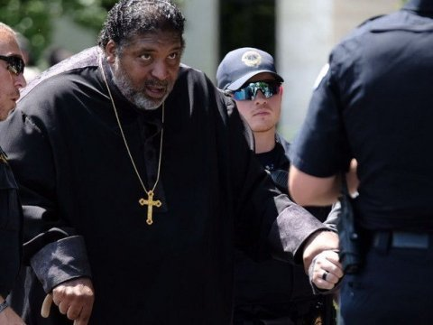 Rev. William Barber II, co-chair of the Poor People's Campaign, is arrested by U.S. Capitol Police after taking part in a non-violent protest in Washington, D.C. on June 23, 2021. (Photo: Poor People's Campaign/Twitter)