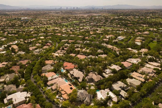 Homes and a golf course in Summerlin, Nevada, in suburban Las Vegas. In recent decades, hundreds of thousands more people have moved to the regions that depend on the Colorado River. Credit: Patrick T. Fallon/AFP via Getty Images