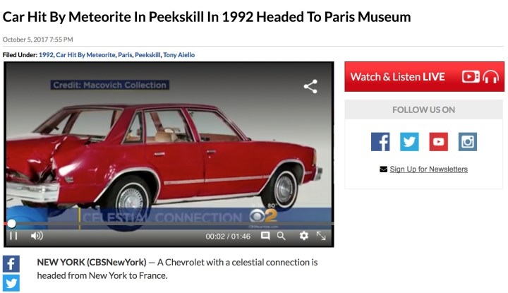 Peekskill Meteorite Car on CBS News