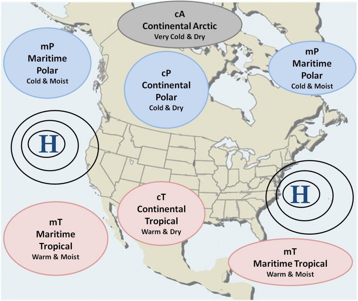 Types Of Air Masses That Effect The Weather In The Us