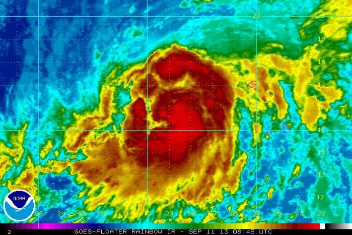 Imagen actual y posible ruta del primer huracán de la temporada atlántica 2013, Humberto